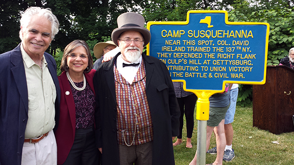 Author and Historian David Cleutz, New York State Assemblywoman Donna Lupardo and Jay Purdy of the GBPA Board of Directors next to the newly-dedicated marker honoring the 137th New York Volunteer Infantry.
