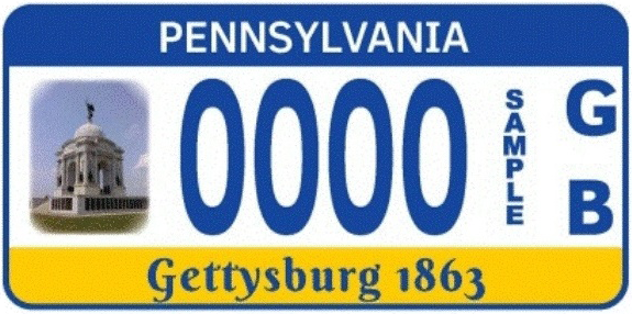 "Official PennDOT ""PA Monuments Preservation"" plate"