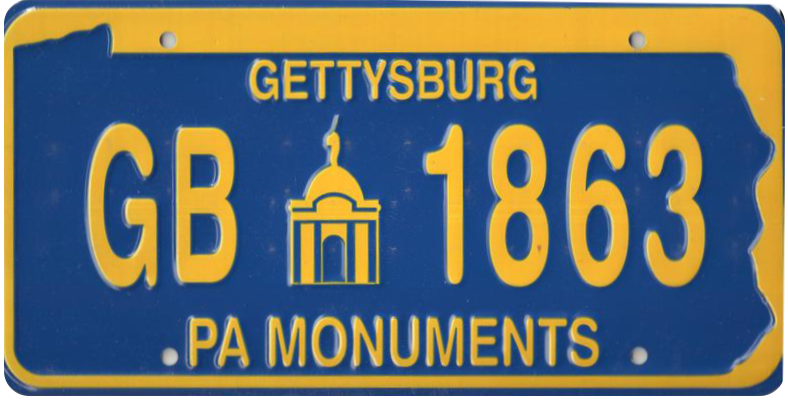 "Blue & Gold, ""GB 1863: PA Monuments"" unofficial license plate."