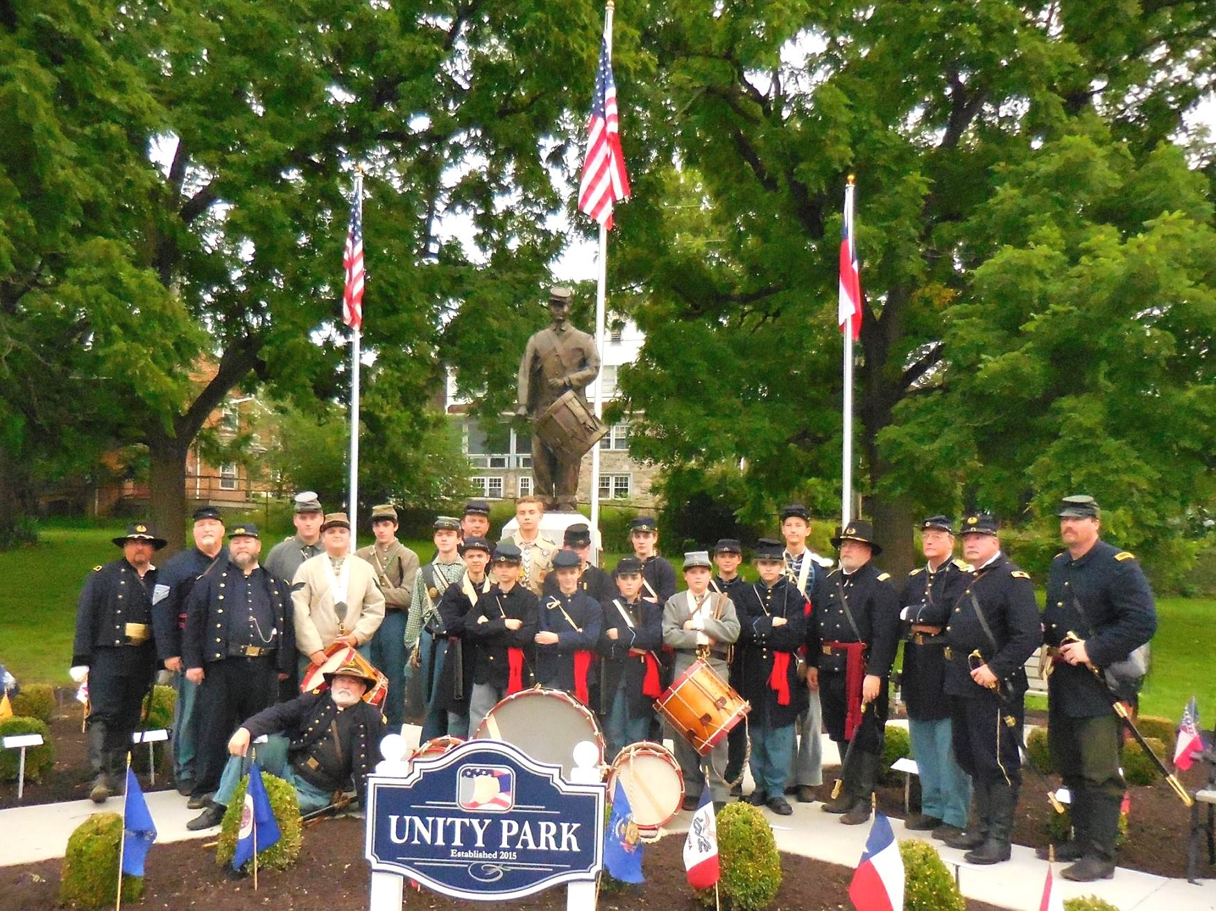 Dedication of Unity Park in Gettysburg in 2015. The brainchild of B.S.A. Eagle Scout Andrew Adam honors the musicians who served in the Union and Confederate armies.