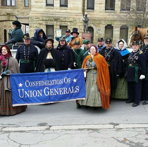 Members of the Confederation of Union Generals defied frigid temperatures to take part in the 2017 St. Patrick's Day Parade in Scranton, Pennsylvania.